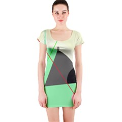 Decorative Abstract Design Short Sleeve Bodycon Dress