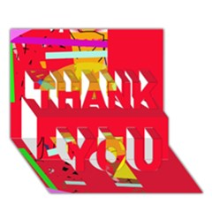 Red Abstraction Thank You 3d Greeting Card (7x5) by Valentinaart