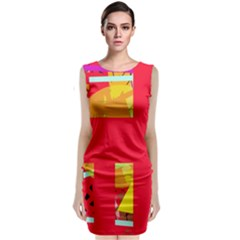 Red Abstraction Classic Sleeveless Midi Dress by Valentinaart