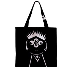 Black And White Voodoo Man Zipper Grocery Tote Bag by Valentinaart