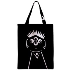 Black And White Voodoo Man Zipper Classic Tote Bag by Valentinaart