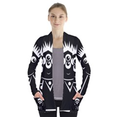 Black And White Voodoo Man Women s Open Front Pockets Cardigan(p194)