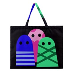 Three Monsters Zipper Large Tote Bag by Valentinaart