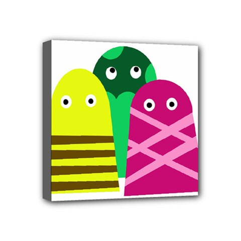 Three Mosters Mini Canvas 4  X 4  by Valentinaart