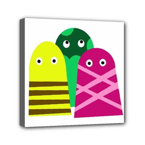Three Mosters Mini Canvas 6  X 6  by Valentinaart