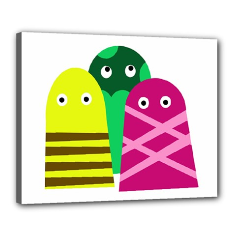 Three Mosters Canvas 20  X 16  by Valentinaart