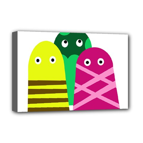 Three Mosters Deluxe Canvas 18  X 12   by Valentinaart