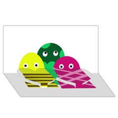 Three Mosters Twin Heart Bottom 3d Greeting Card (8x4) by Valentinaart