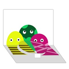 Three Mosters Circle Bottom 3d Greeting Card (7x5) by Valentinaart