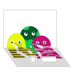 Three Mosters Love Bottom 3d Greeting Card (7x5) by Valentinaart