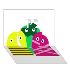 Three Mosters Apple 3d Greeting Card (7x5) by Valentinaart