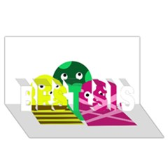 Three Mosters Best Sis 3d Greeting Card (8x4) by Valentinaart
