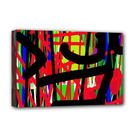 Colorful Abstraction Deluxe Canvas 18  X 12   by Valentinaart