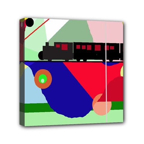 Abstract Train Mini Canvas 6  X 6  by Valentinaart