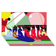 Abstract Train Best Sis 3d Greeting Card (8x4)