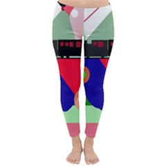 Abstract Train Winter Leggings  by Valentinaart