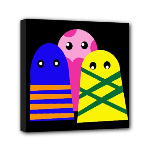 Three Monsters Mini Canvas 6  X 6  by Valentinaart