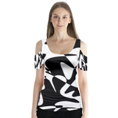 Black And White Elegant Pattern Butterfly Sleeve Cutout Tee  by Valentinaart