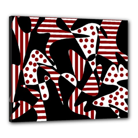 Red, Black And White Abstraction Canvas 24  X 20  by Valentinaart