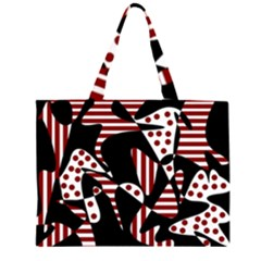 Red, black and white abstraction Large Tote Bag by Valentinaart