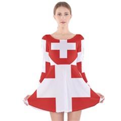 Coat Of Arms Of Switzerland Long Sleeve Velvet Skater Dress by abbeyz71