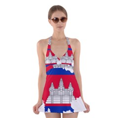 Flag Map Of Cambodia Halter Swimsuit Dress by abbeyz71