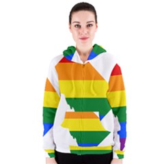 Lgbt Flag Map Of Washington, D C Women s Zipper Hoodie