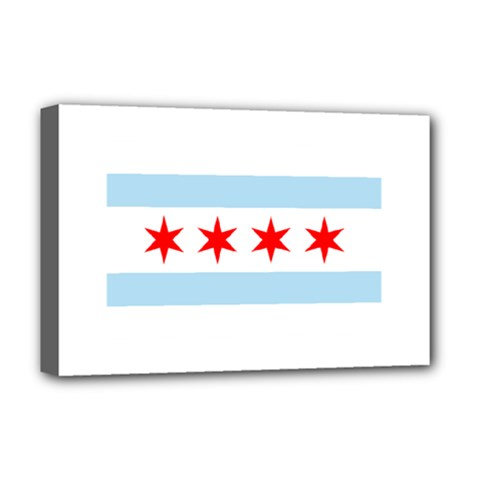 Flag Of Chicago Deluxe Canvas 18  X 12