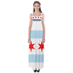 Flag Of Chicago Empire Waist Maxi Dress