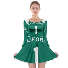 California 1 State Highway   Pch Long Sleeve Skater Dress