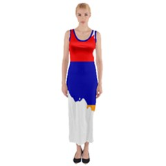 Flag Map Of Armenia  Fitted Maxi Dress