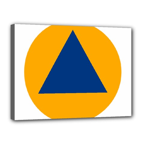 International Sign Of Civil Defense Roundel Canvas 16  X 12