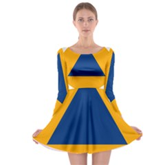 International Sign Of Civil Defense Roundel Long Sleeve Skater Dress