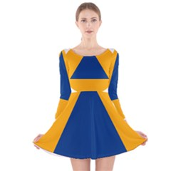 International Sign Of Civil Defense Roundel Long Sleeve Velvet Skater Dress