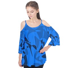 Blue Pattern Flutter Tees