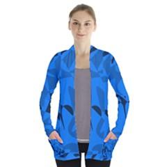 Blue Pattern Women s Open Front Pockets Cardigan(p194)