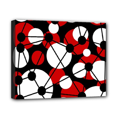 Red, Black And White Pattern Canvas 10  X 8  by Valentinaart