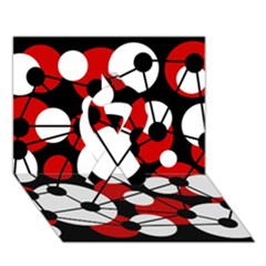 Red, Black And White Pattern Ribbon 3d Greeting Card (7x5) by Valentinaart