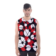 Red, Black And White Pattern Men s Basketball Tank Top by Valentinaart