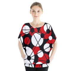 Red, Black And White Pattern Blouse by Valentinaart
