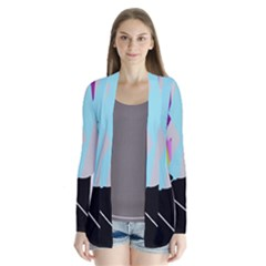 Colorful Abstraction Drape Collar Cardigan