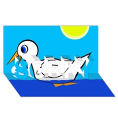 White Duck Sorry 3d Greeting Card (8x4) by Valentinaart
