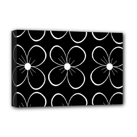 Black And White Floral Pattern Deluxe Canvas 18  X 12   by Valentinaart