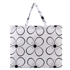 White Flowers Pattern Zipper Large Tote Bag by Valentinaart