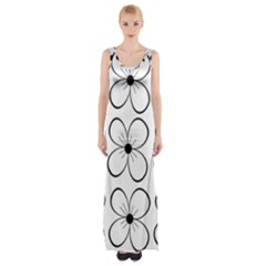 White Flowers Pattern Maxi Thigh Split Dress by Valentinaart