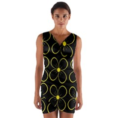 Yellow Flowers Wrap Front Bodycon Dress by Valentinaart