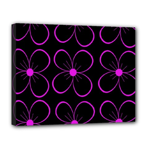 Purple Floral Pattern Canvas 14  X 11  by Valentinaart