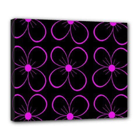 Purple Floral Pattern Deluxe Canvas 24  X 20   by Valentinaart