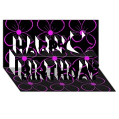Purple Floral Pattern Happy Birthday 3d Greeting Card (8x4) by Valentinaart