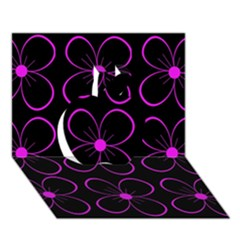 Purple Floral Pattern Apple 3d Greeting Card (7x5) by Valentinaart